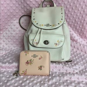 Like New Coach Leather Backpack & Wallet